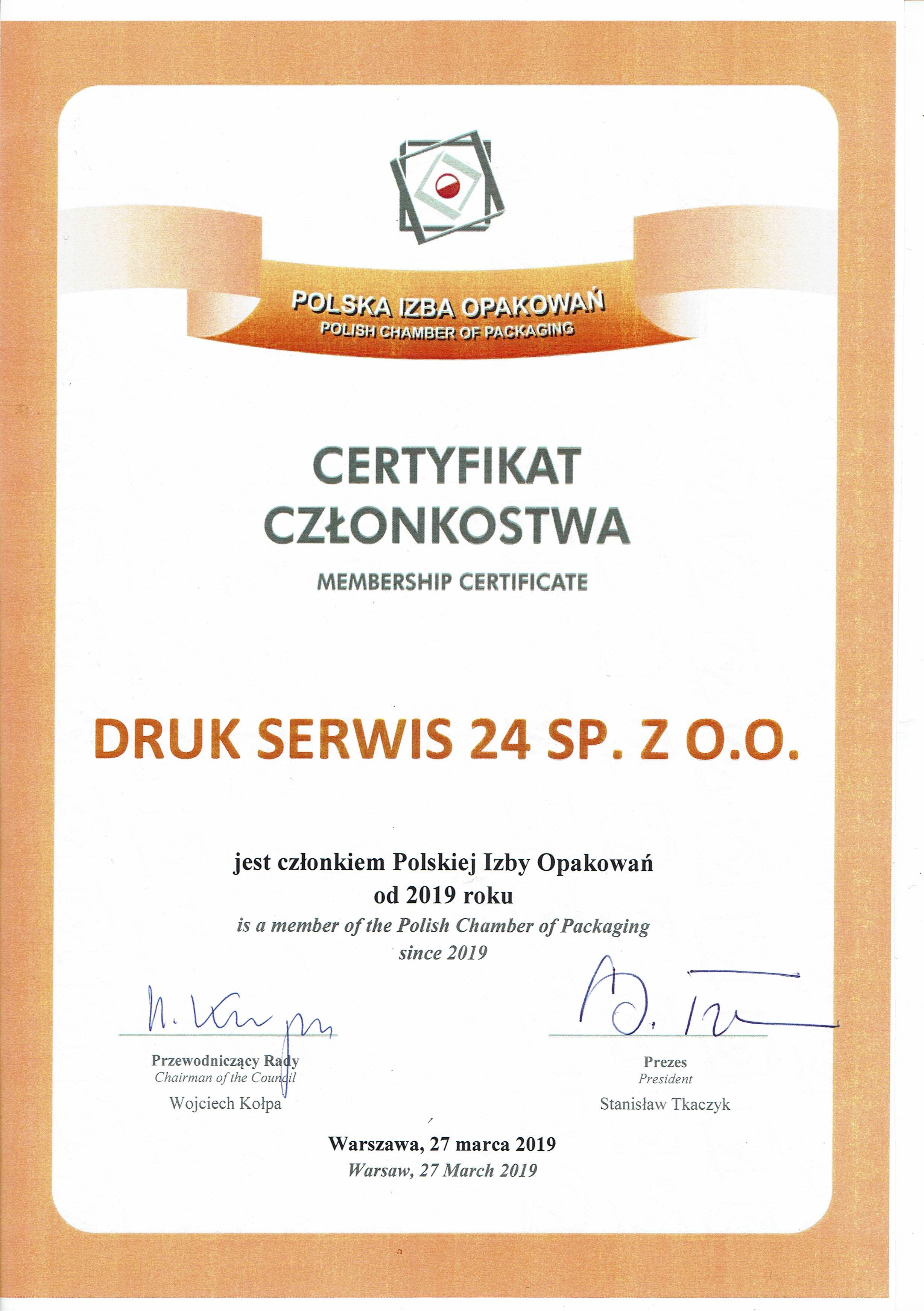 Druk Serwis 24 Polska Izba Opakowań.